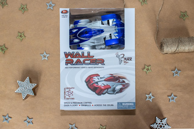 Wall Racer car in box from Buzz Toys makes a fun gift for tweens but needs 6 batteries
