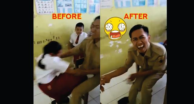 Video Takut Disuntik Siswi SD Tendang Bagian Vit4l Gurunya, Lihat Ekspresi Gurunya