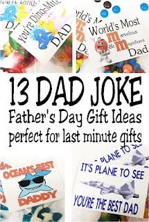 Give dad a fun last minute Father's Day gift with a Dad joke he'll love and appreciate.  The extra treat will be sure to make you his favorite all day long. #fathersdaygift #lastminutefathersdaygift #diypartymomblog