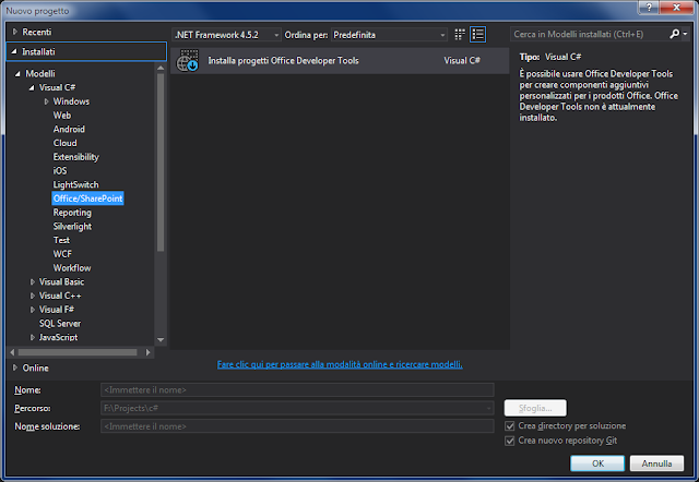 Visual Studio, Progetto in Visual C# - Office/SharePoint