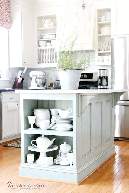 duck egg blue ASCP on kitchen island with white cabinets