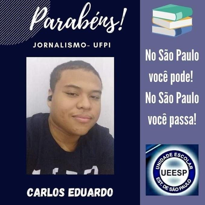 FEITO: Jovem elesbonense Carlos Eduardo é aprovado para o curso de jornalismo na UFPI.