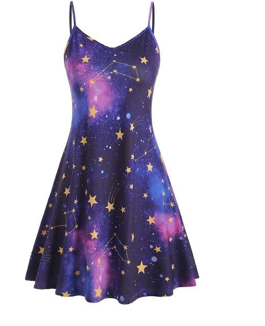 vestido tirantes con estampado de galaxia