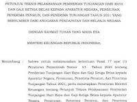 Juknis Pemberian THR, Gaji Ke-13 ASN, Pensiun dan Penerima Tunjangan Tahun 2021