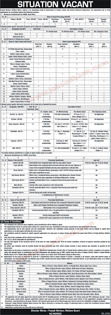Punjab Workers Welfare Board Jobs June 2019 July Chowkidar, Sweepers & Others Latest 2019