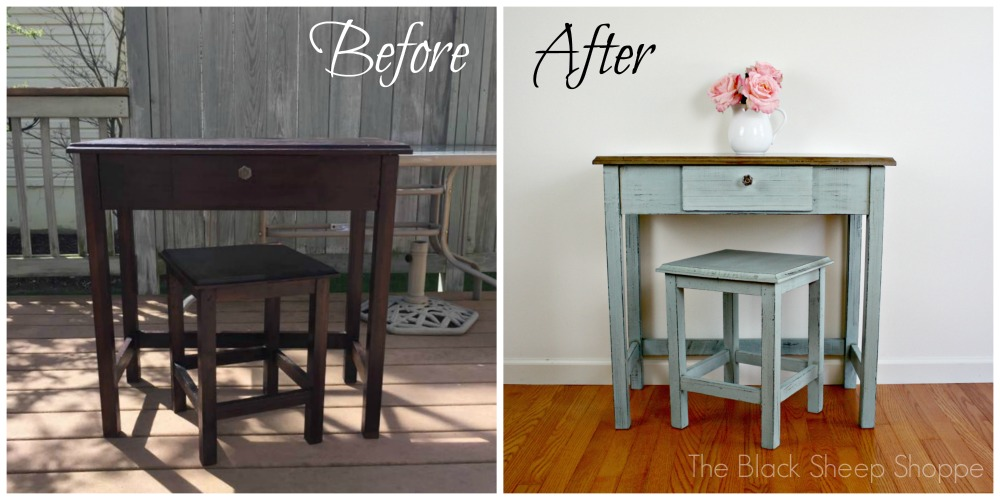 Before and after vintage writing desk.
