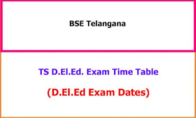 TS Deled Exam Time Table