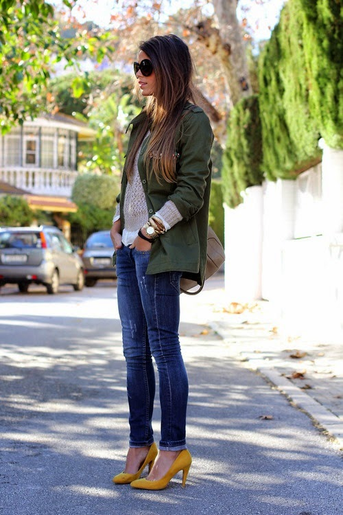 Autumn Style with Military Jacket and Yellow Pumps