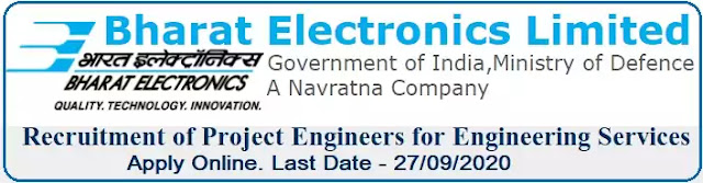 BEL Project Engineer Recruitment 2020 in Engineering Services Division Bengaluru