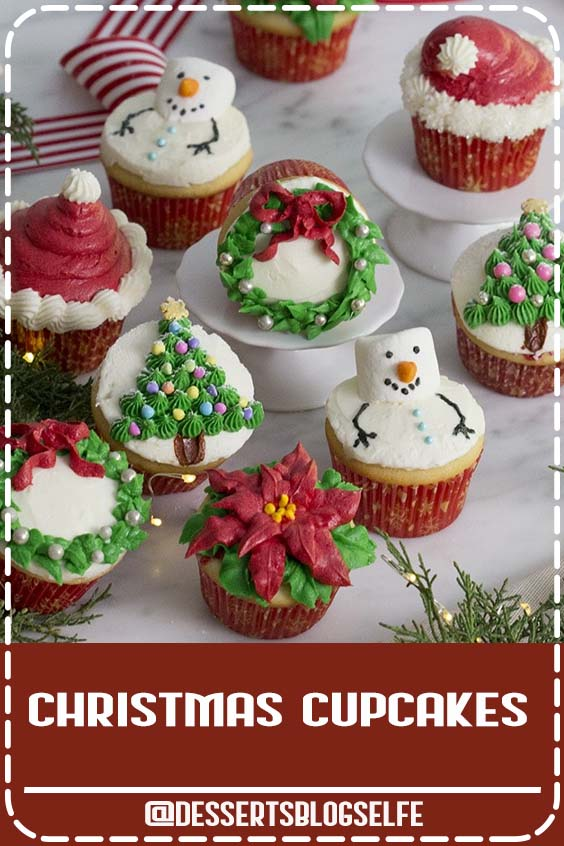 These festive Christmas cupcakes decorated five different ways from Preppy Kitchen are too cute not to make for your next holiday gathering! Moist and fluffy vanilla cupcakes topped with vanilla buttercream, this recipe will become a year-round favorite!! #DessertsBlogSelfe #christmascupcakes #holidaycupcakes #holidaytreats #dessertsforparties #christmas
