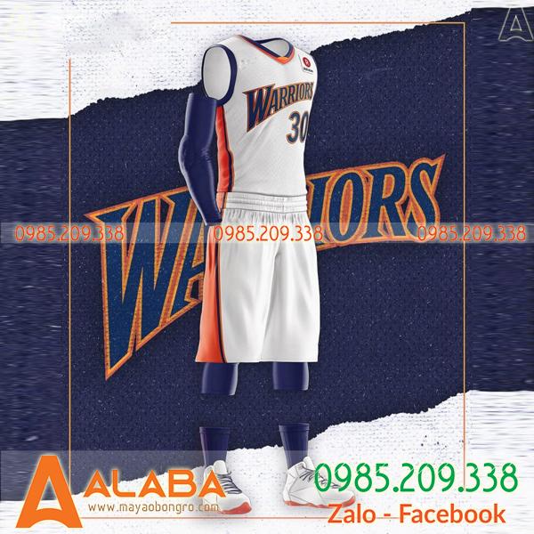 Áo bóng rổ Warriors màu trắng hot