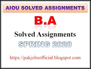 AIOU Solved Assignments BA Spring 2020
