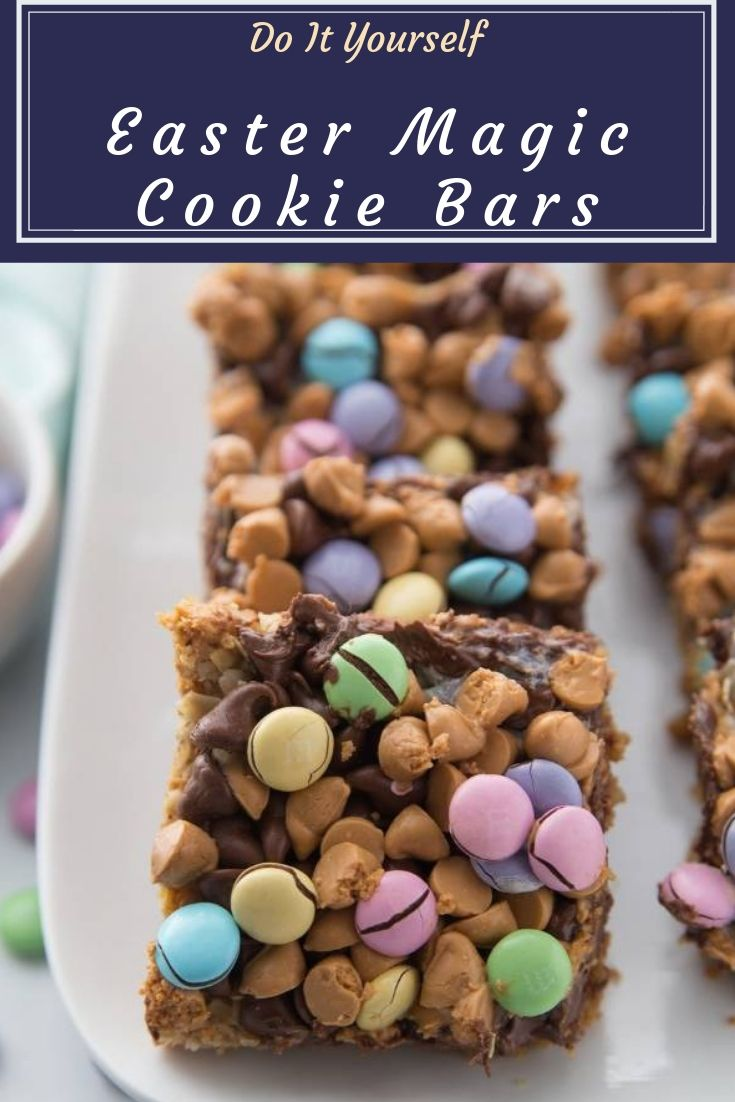 Easter Magic Cookie Bars - EASY M&M Easter Cookie Bars are the perfect dessert for Easter. Colorful, bright, and delicious down to the last crumbs. Make these cookie bars today.