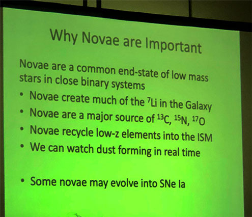 Fred Walter discusses why novae are important (Source: 108th AAVSO meeting)