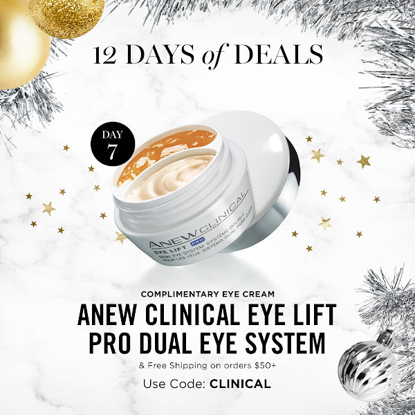 The 7th Day of 12 Days of Deals. FREE ANEW CLINICAL EYE LIFT & FREE SHIPPING ON ORDER $50+. USE CODE: CLINICAL