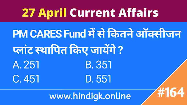 27 April 2021 Current Affairs In Hind