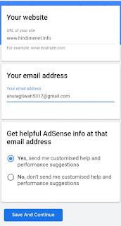 Google Adsense Input Website Info