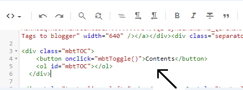add TOC code in blogger post