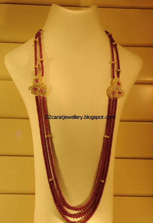 Ruby Beads Jewellery With Diamonds Jewellery Designs
