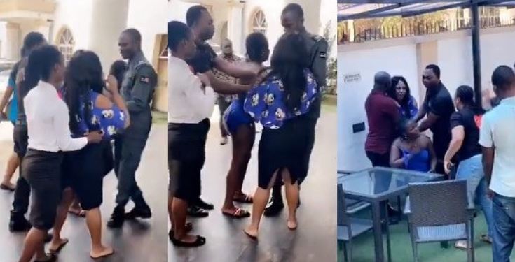 Drama As Angry Wife Caught Her Husband With His Side Chic At A