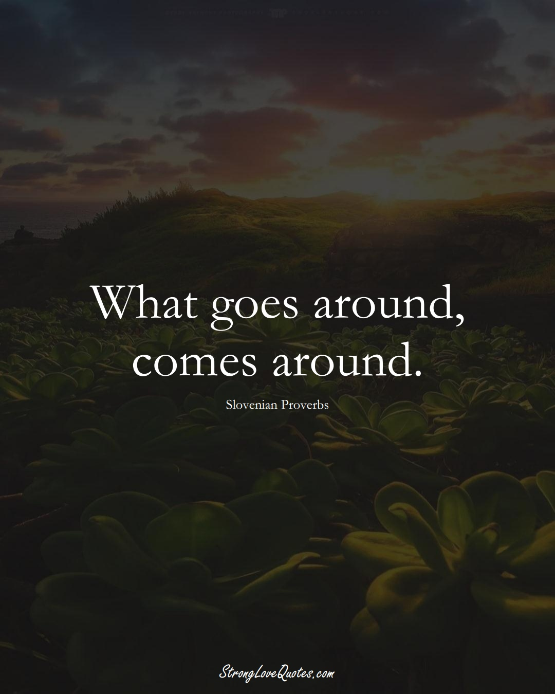 What goes around, comes around. (Slovenian Sayings);  #EuropeanSayings