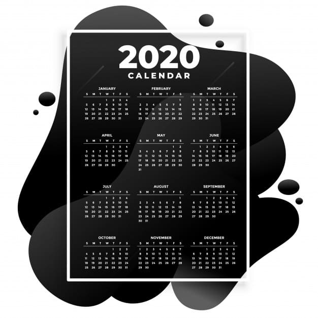 Calendario 2020 editable abstracto negro