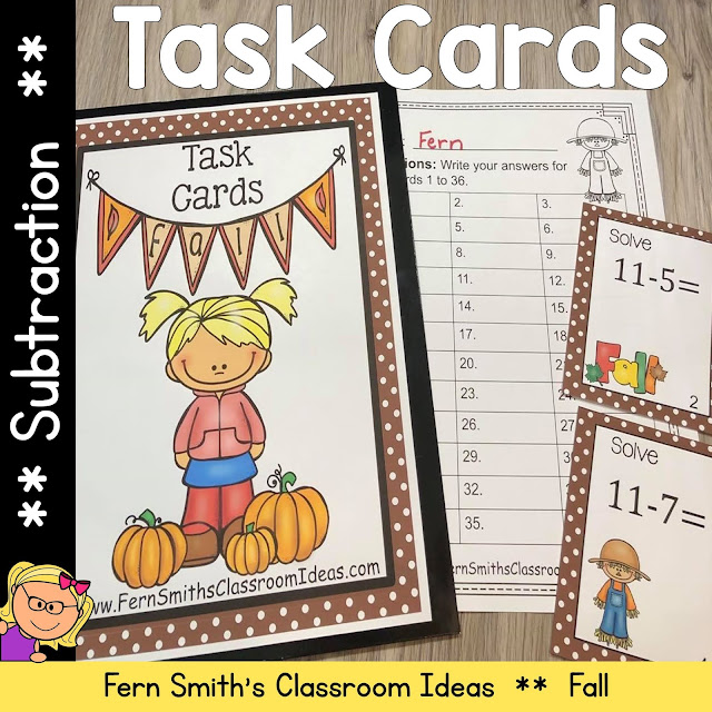Fall Subtraction Task Cards #FernSmithsClassroomIdeas