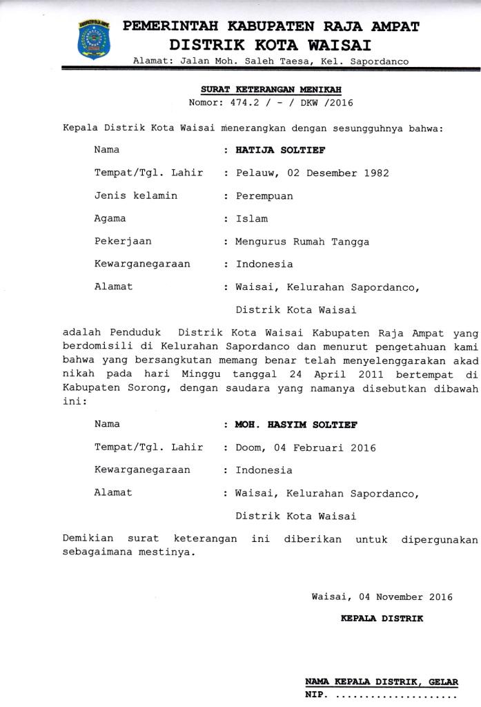 Contoh Surat Keterangan Menikah Distrik Kota Waisai