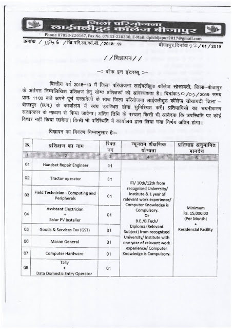 Recruitment of various post in District Project Livelihoodle College, Bijapur(8 post)