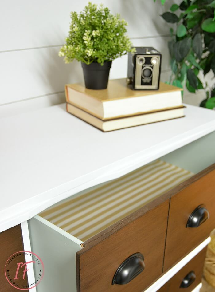 Faux Apothecary Dresser Paper Lined Drawers