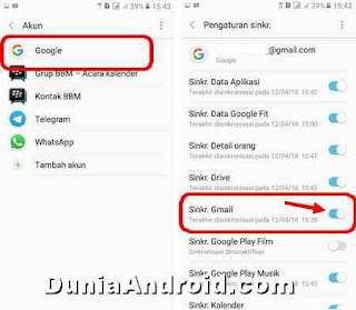 disable Email masuk di hp samsung