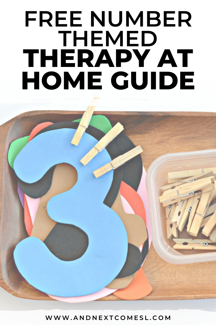 Free number themed therapy at home activity guide for parents and therapists