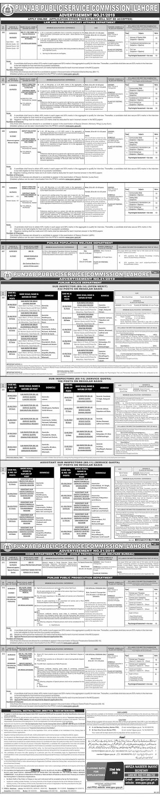 PPSC Latest Jobs, PPSC Jobs july 2019, ppsc punjab police jobs