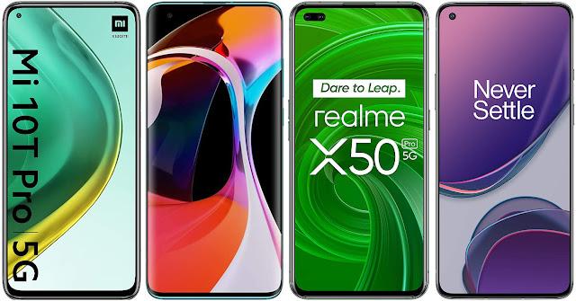 Xiaomi Mi 10T Pro vs Xiaomi Mi 10 vs Realme X50 Pro vs OnePlus 8T