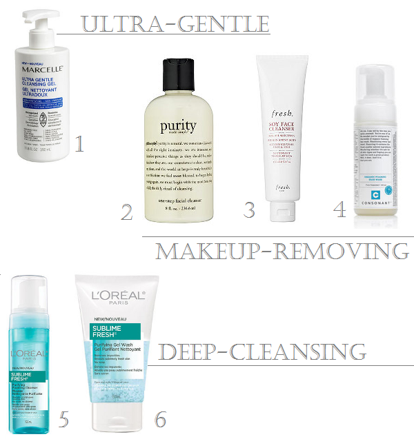 Marcelle Ultra Gentle Cleansing Gel, Philosophy Purity Made Simple cleanser, Fresh Soy Face Cleanser, Consonant Organic Foaming Face Wash, L'Oreal Sublime Fresh Purifying Foaming Cleanser and Purifying Gel Wash