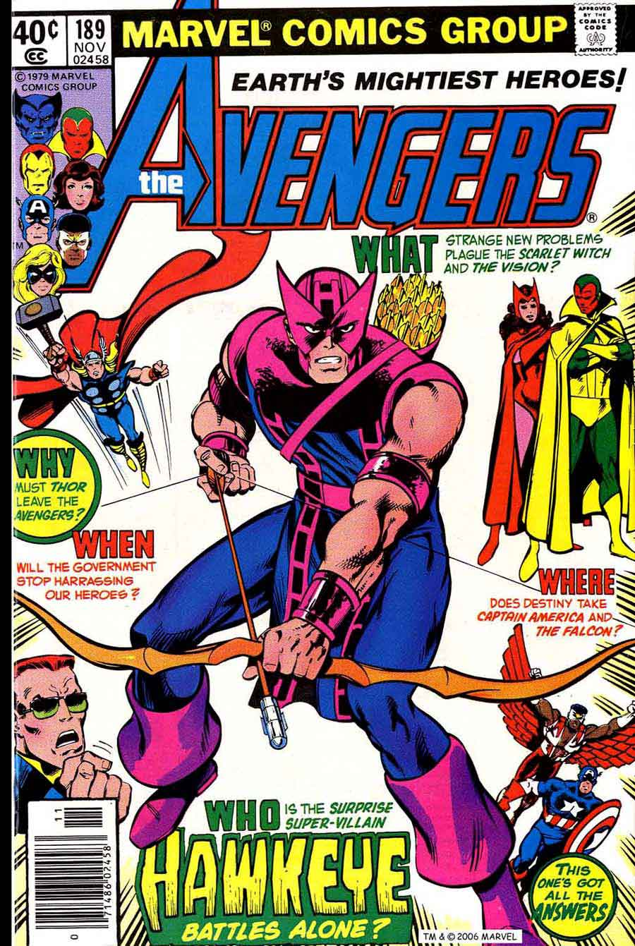 Avengers #189 marvel 1970s bronze age comic book cover art by John Byrne
