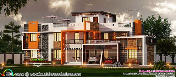 Luxury wide home plan in contemporary style