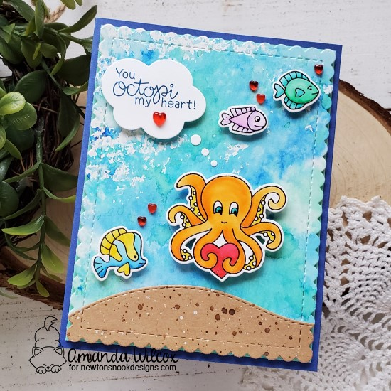 You Octopi My Heart Card by Amanda Wilcox | Tides of Love Stamp Set, Frames & Flags Die Set and Land Borders Die Set by Newton's Nook Design #newtonsnook #handmade