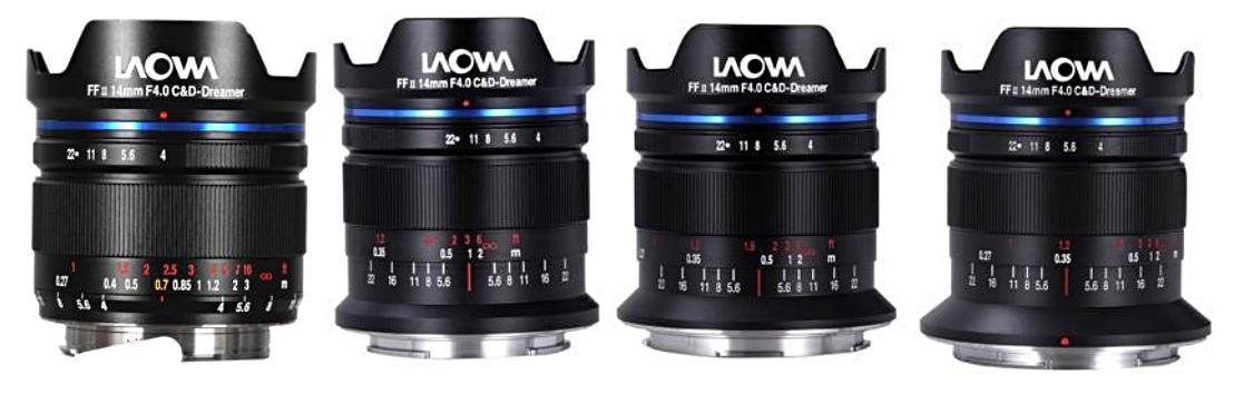 Четыре варианта креплений объектива Laowa 14mm f/4 FF RL Zero-D