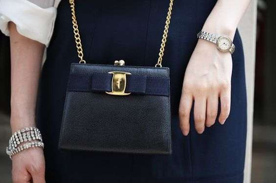 navy ferragamo bow bag