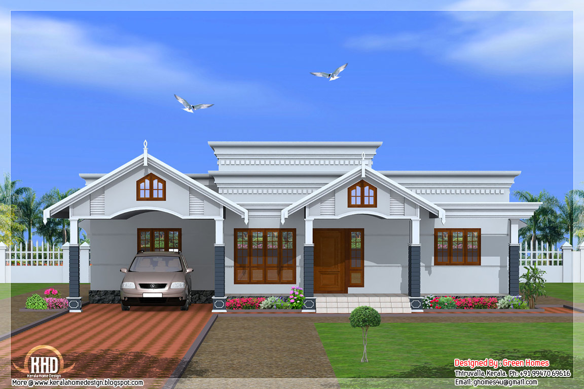 Single Floor House Front Elevation Designs In Kerala : Bedroom single floor kerala house plan home