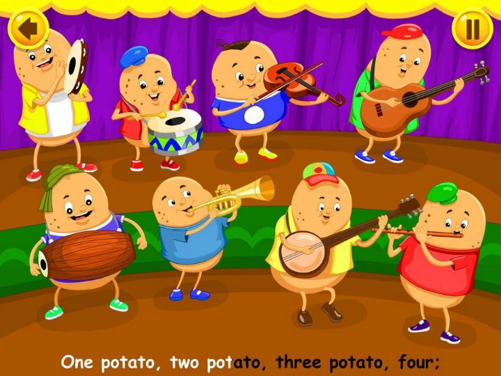 Kidloland app - one potato, two potato, three potato, four nursery rhyme