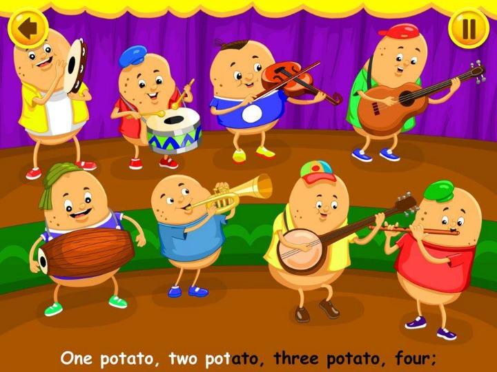 Kidloland app - one potato, two potato, three potato, four nursery rhyme