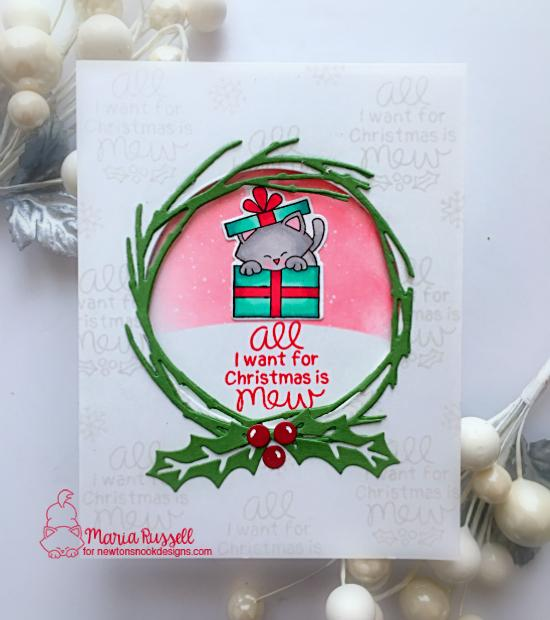 Cat in Christmas Gift Card by Maria Russell | Purr-fect Present Stamp Set and Pines & Holly Die set by Newton's Nook Designs #newtonsnook #handmade