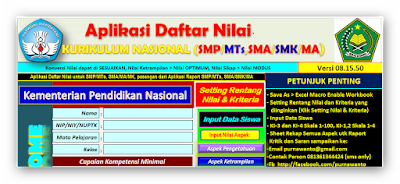 Aplikasi Penilaian kurikulum Nasional Terbaru 2016