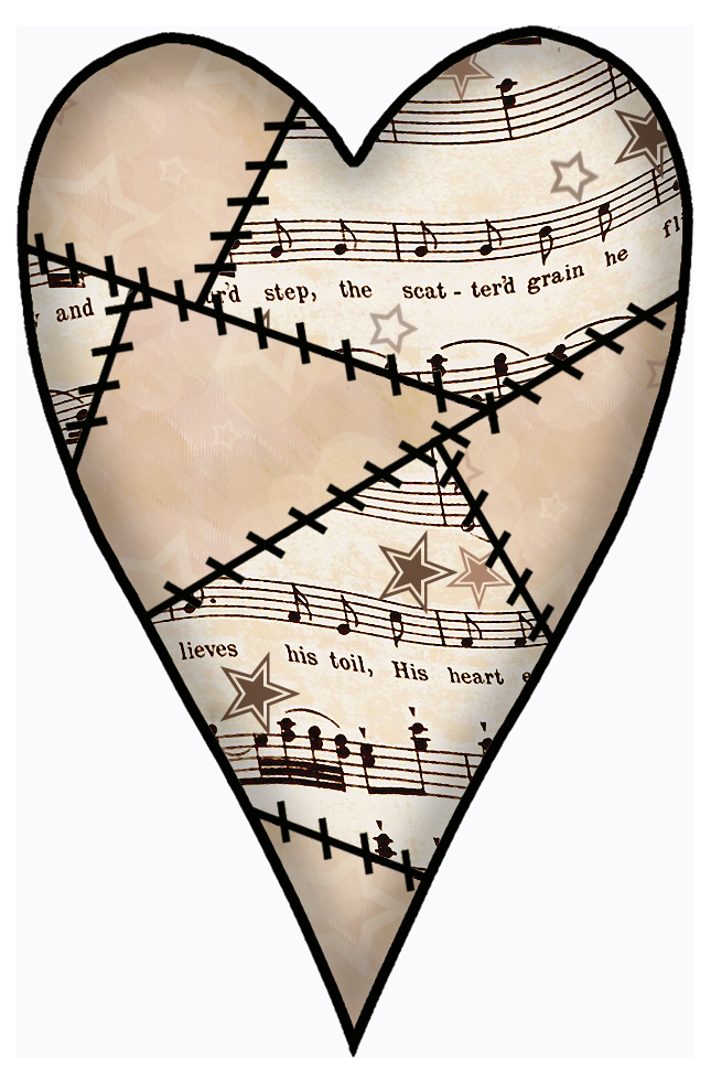 ArtbyJean - Vintage Sheet Music: Decoupage love heart ...
