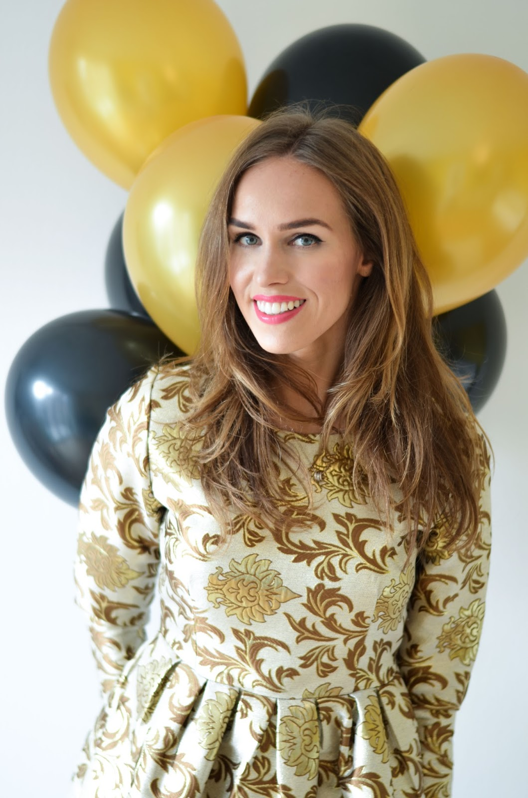 kristjaana mere 27th birthday golden dress balloons