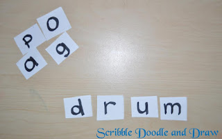 practice spelling by using cut up letters to make words
