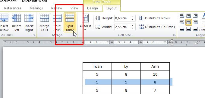 Cách gộp ô, chia tách ô, bảng trong Word 2007, 2010, 2013, 2016