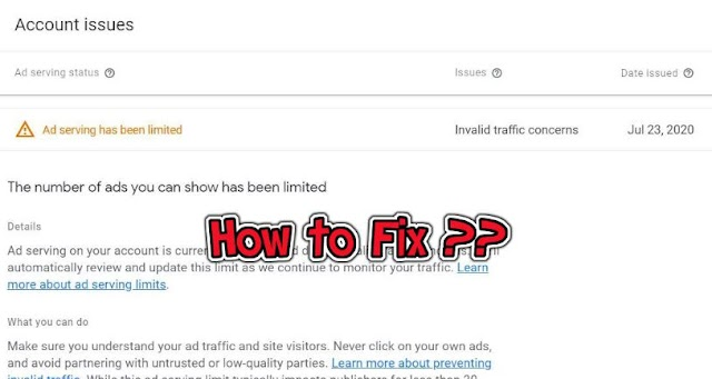 How to Fix Ad serving limit placed on your AdSense account  ?
